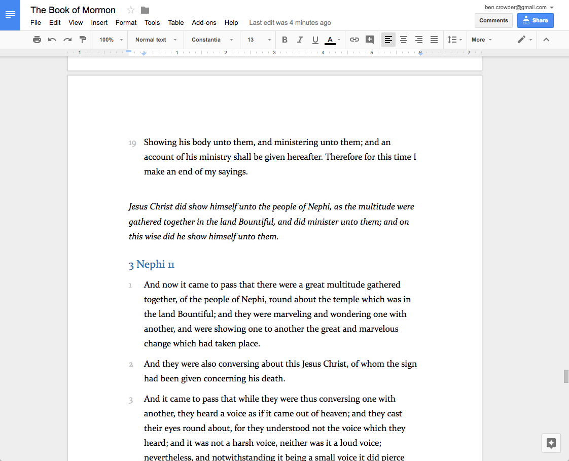 how to show two pages on google docs